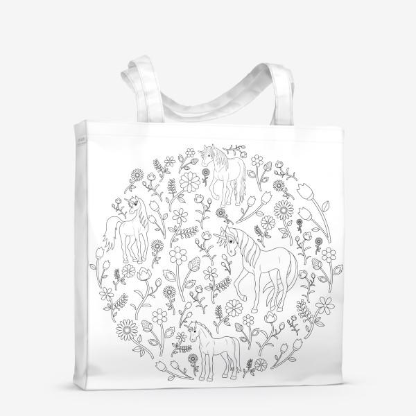 Сумка-шоппер «Круговой узор с цветами и единорогами»
