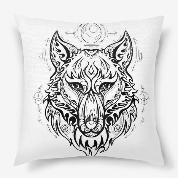 Подушка «Волк с символами »