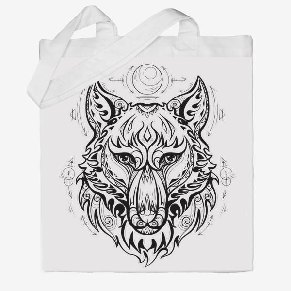 Сумка хб «Волк с символами »