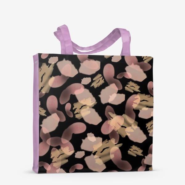 Сумка-шоппер «Абстракция акварельная черная розовая»