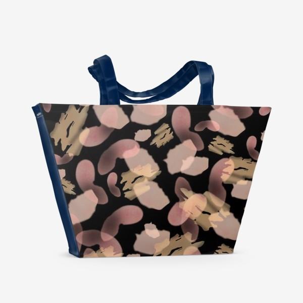 Пляжная сумка «Абстракция акварельная черная розовая»