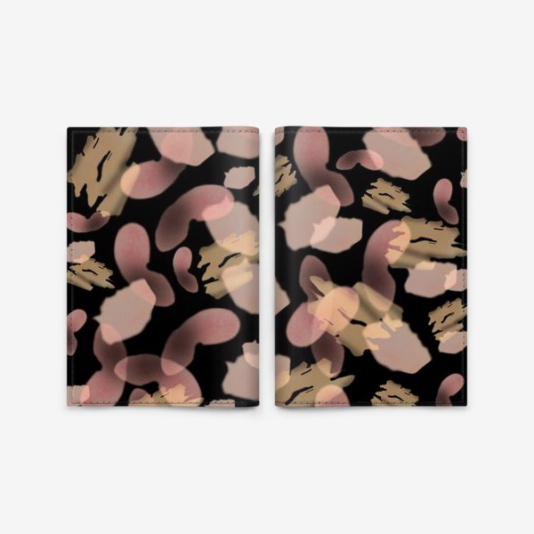 Обложка для паспорта «Абстракция акварельная черная розовая»