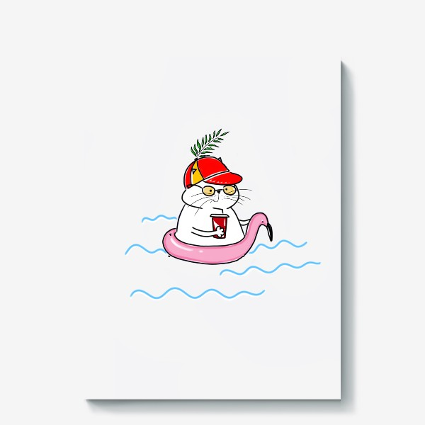 Холст «Пляжный кот. Скоро лето. Отпуск. Отдых»
