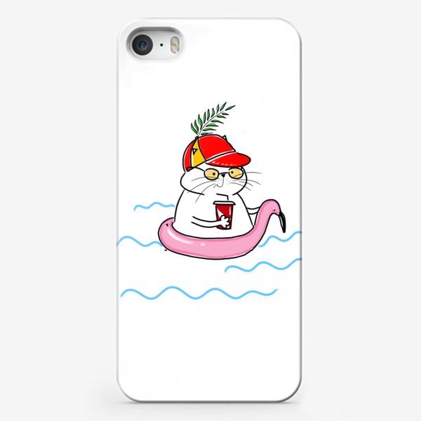 Чехол iPhone «Пляжный кот. Скоро лето. Отпуск. Отдых»