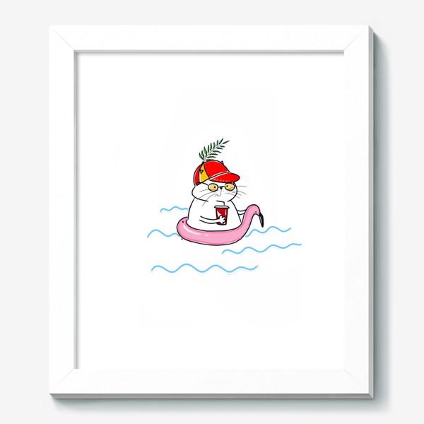 Картина «Пляжный кот. Скоро лето. Отпуск. Отдых»
