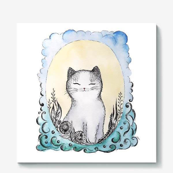 Холст «Котик на солнышке.»