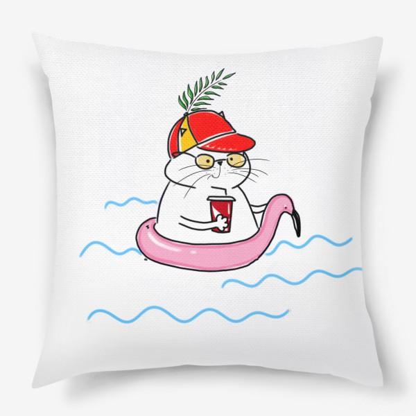 Подушка «Пляжный кот. Скоро лето. Отпуск. Отдых»