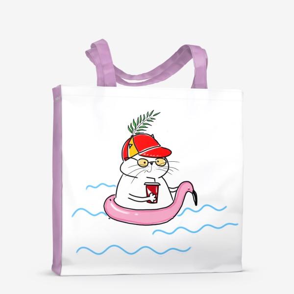 Сумка-шоппер «Пляжный кот. Скоро лето. Отпуск. Отдых»