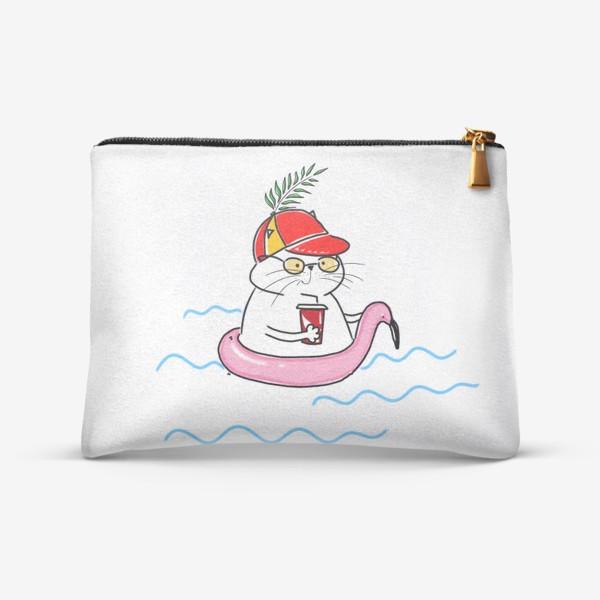 Косметичка «Пляжный кот. Скоро лето. Отпуск. Отдых»
