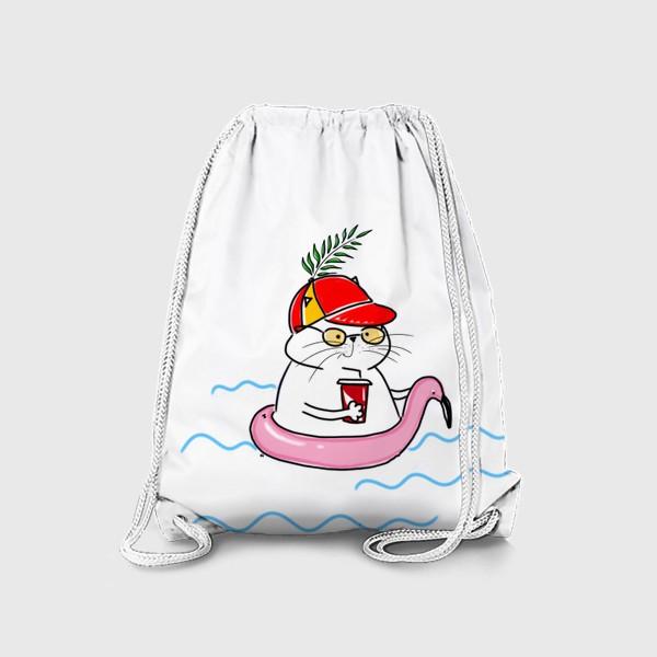 Рюкзак «Пляжный кот. Скоро лето. Отпуск. Отдых»