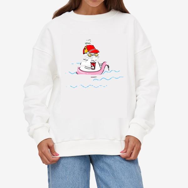 Свитшот «Пляжный кот. Скоро лето. Отпуск. Отдых»