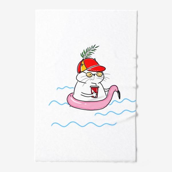 Полотенце «Пляжный кот. Скоро лето. Отпуск. Отдых»