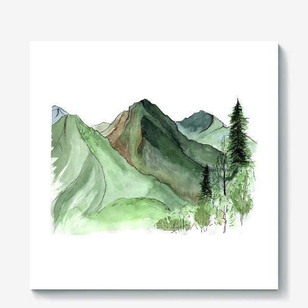 Холст «Горы. Акварельный скетч. Сочи.»
