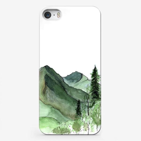 Чехол iPhone «Горы. Акварельный скетч. Сочи.»
