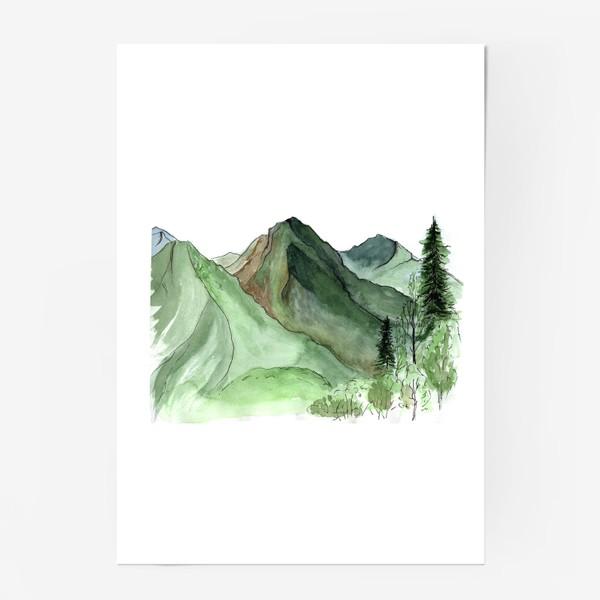 Постер «Горы. Акварельный скетч. Сочи.»