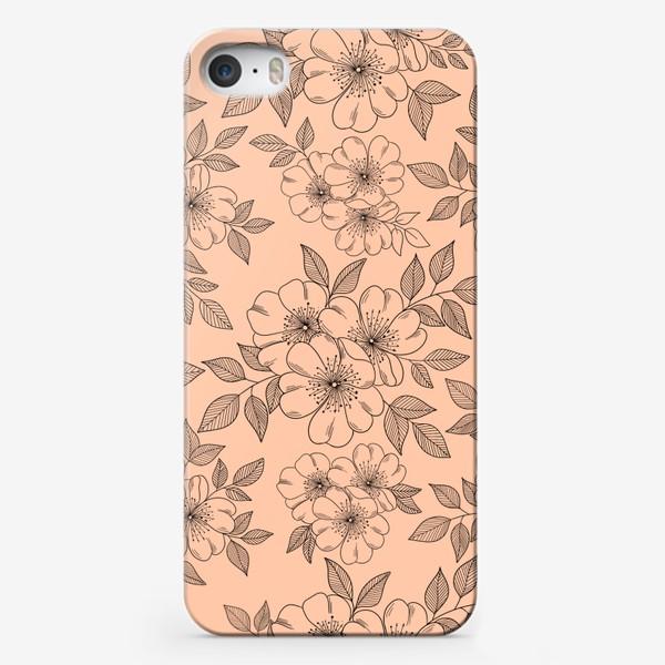 Чехол iPhone «Цветущая яблоня на телесном»