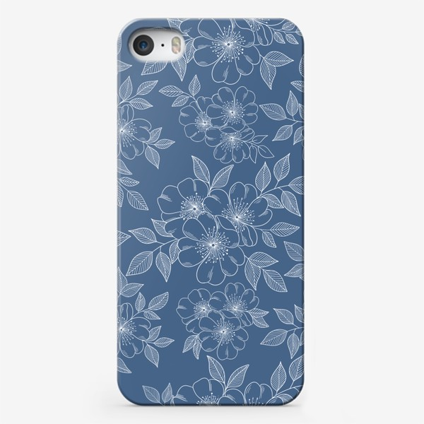 Чехол iPhone «Цветущая яблоня на синем»