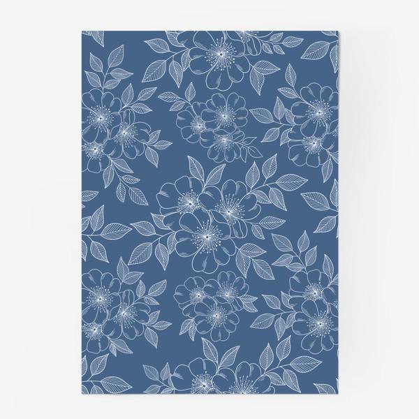 Постер «Цветущая яблоня на синем»