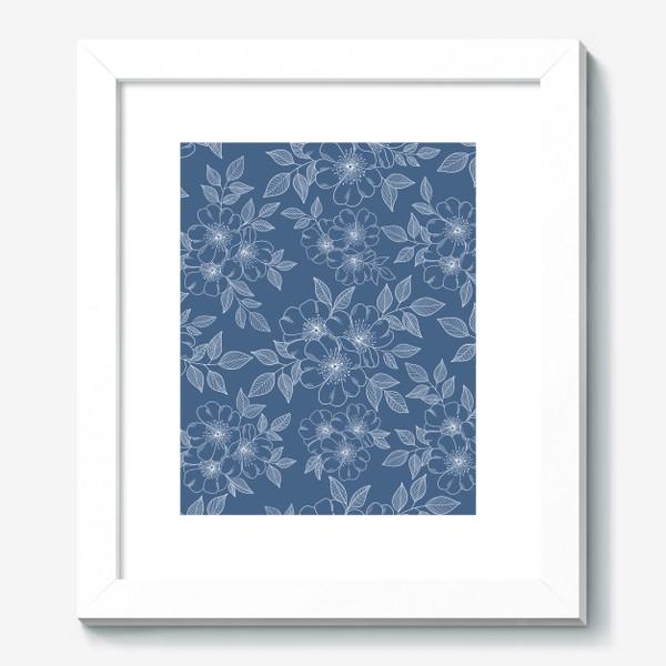 Картина «Цветущая яблоня на синем»