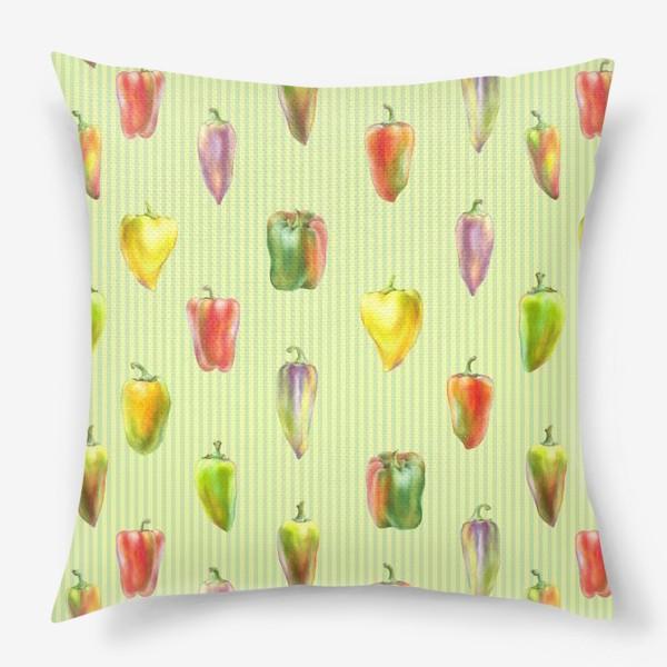 Подушка «Разноцветные перцы на полосатом фоне»