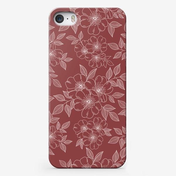 Чехол iPhone «Цветущая яблоня на бордовый»