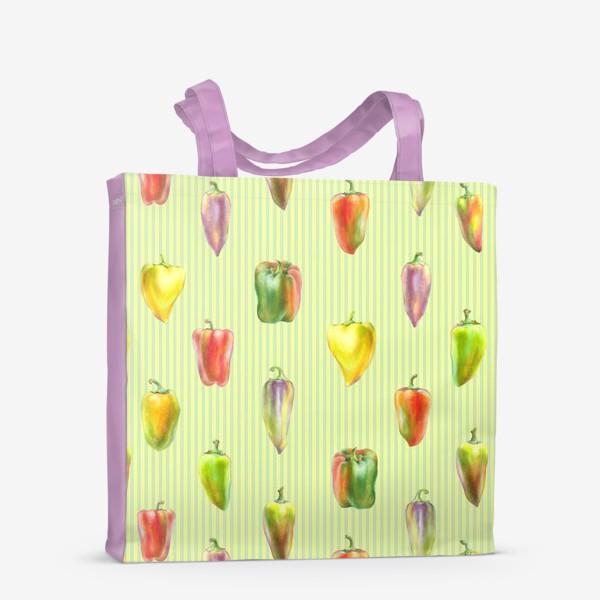 Сумка-шоппер «Разноцветные перцы на полосатом фоне»