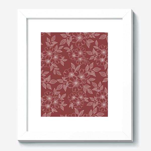 Картина «Цветущая яблоня на бордовый»