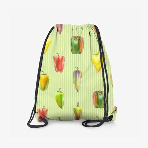 Рюкзак «Разноцветные перцы на полосатом фоне»