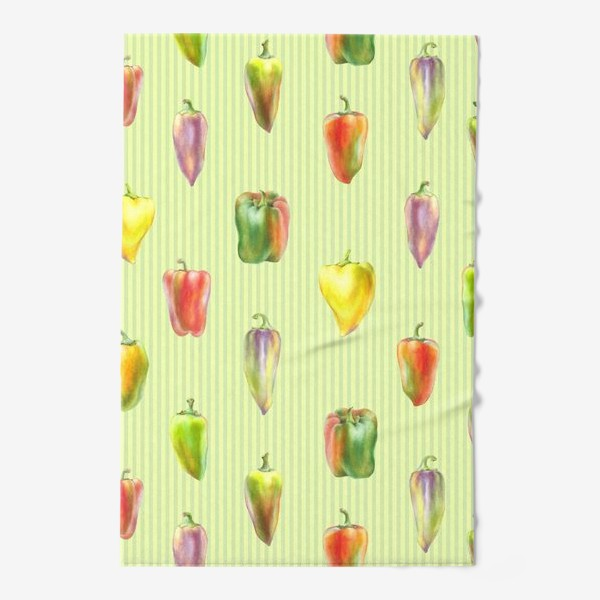 Полотенце «Разноцветные перцы на полосатом фоне»