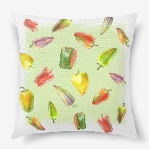 Подушка «Разноцветные перцы на зеленом фоне»