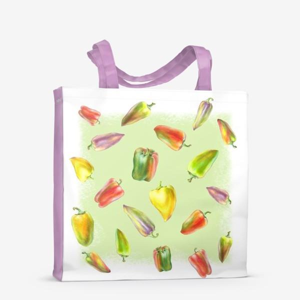 Сумка-шоппер «Разноцветные перцы на зеленом фоне»