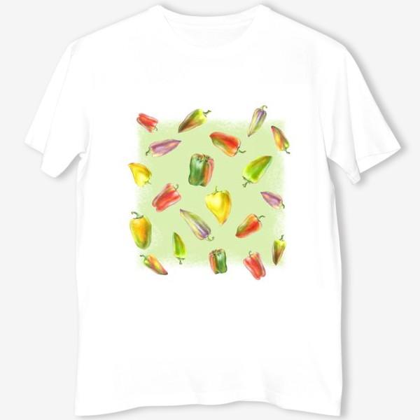 Футболка «Разноцветные перцы на зеленом фоне»