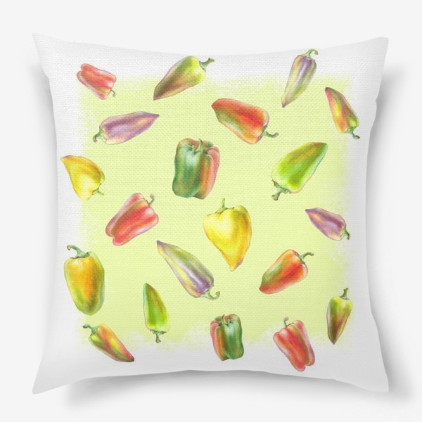 Подушка «Разноцветные перцы на желтом фоне»