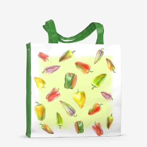 Сумка-шоппер «Разноцветные перцы на желтом фоне»