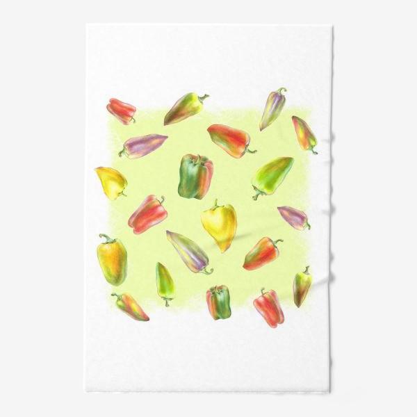 Полотенце «Разноцветные перцы на желтом фоне»