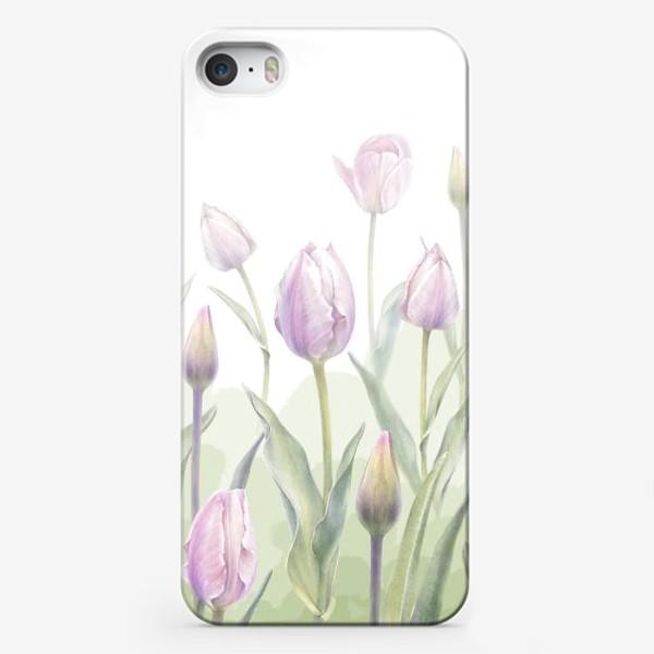 Чехол iPhone «Светло-сиреневые тюльпаны Букет 3 КУПОН»