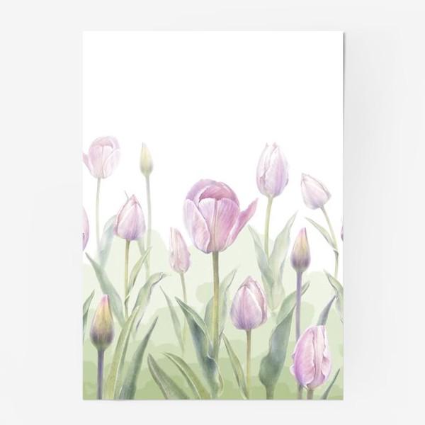 Постер «Светло-сиреневые тюльпаны Букет 3 КУПОН»