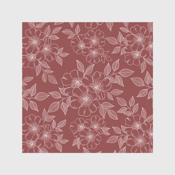 Скатерть «Цветущая яблоня на бордовый»