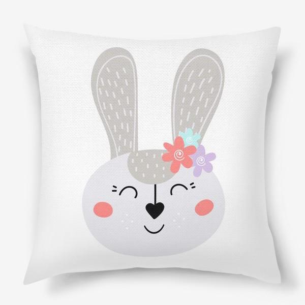 Подушка «Милый зайчик. Кролик с цветочками»