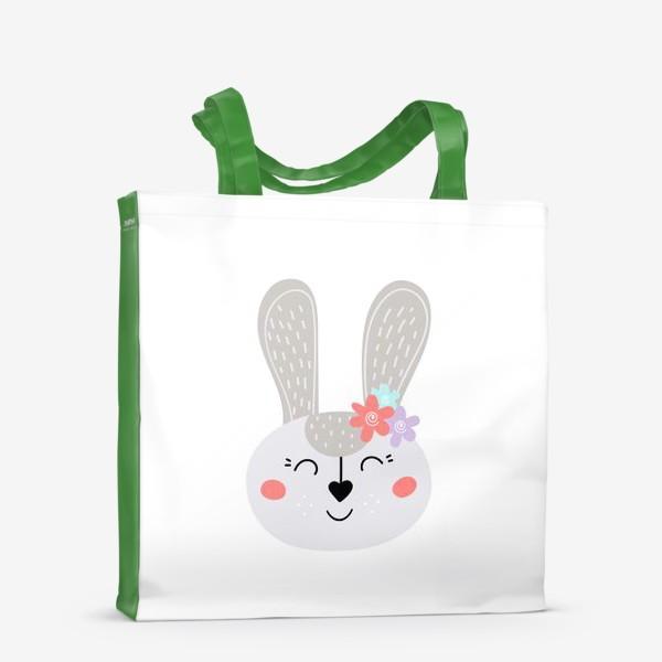 Сумка-шоппер «Милый зайчик. Кролик с цветочками»