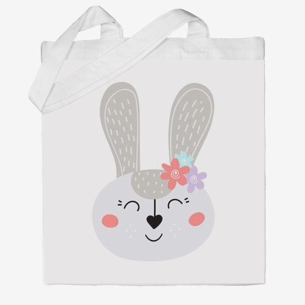 Сумка хб «Милый зайчик. Кролик с цветочками»