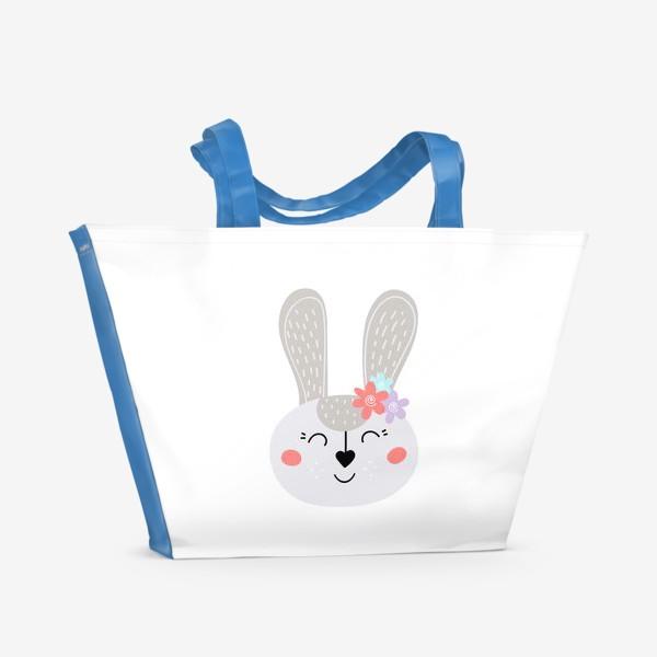 Пляжная сумка «Милый зайчик. Кролик с цветочками»