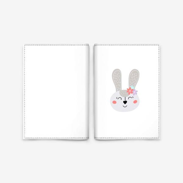Обложка для паспорта «Милый зайчик. Кролик с цветочками»