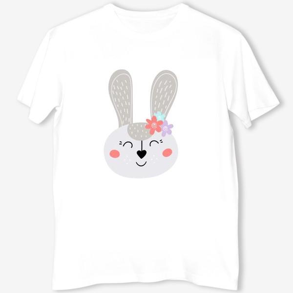 Футболка «Милый зайчик. Кролик с цветочками»
