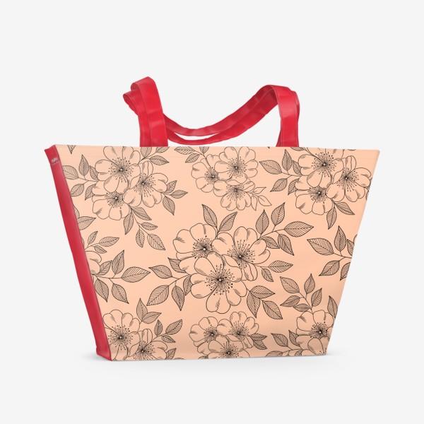Пляжная сумка «Цветущая яблоня на телесном»