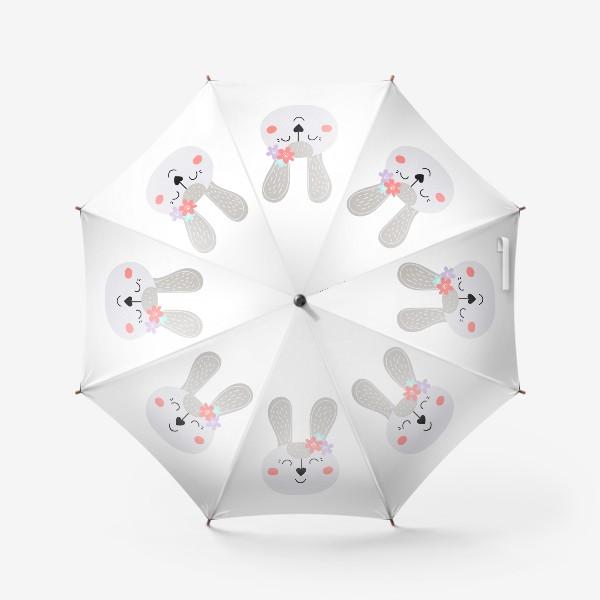 Зонт «Милый зайчик. Кролик с цветочками»