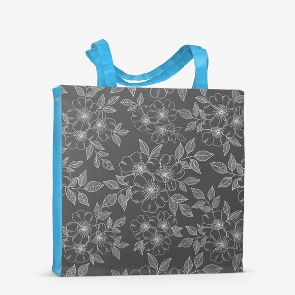 Сумка-шоппер «Цветущая яблоня на сером»