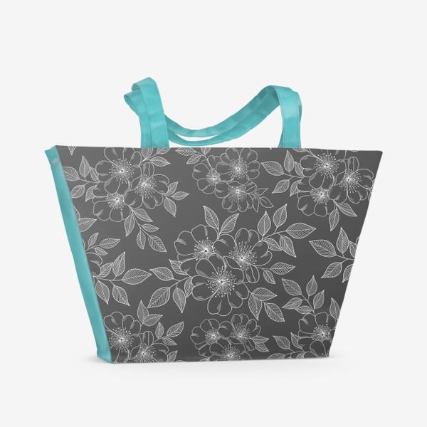 Пляжная сумка «Цветущая яблоня на сером»