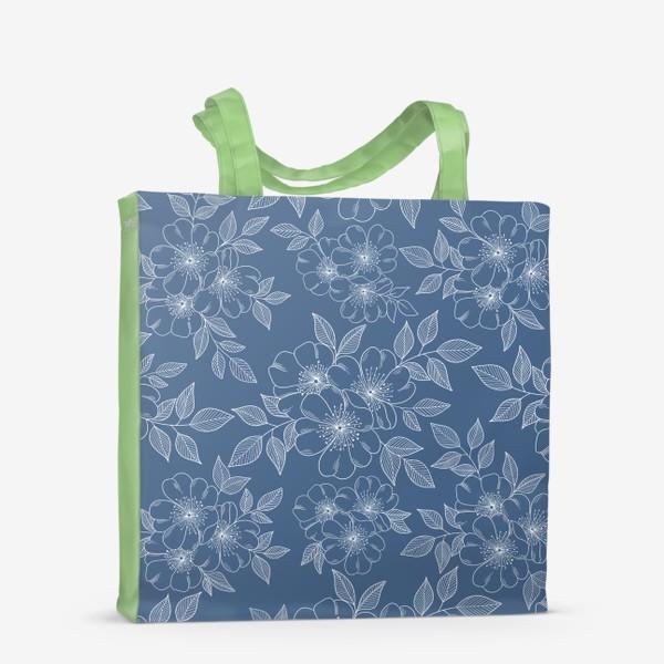 Сумка-шоппер «Цветущая яблоня на синем»
