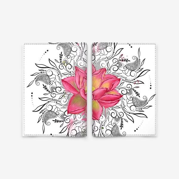 Обложка для паспорта «Мандала и лотос»